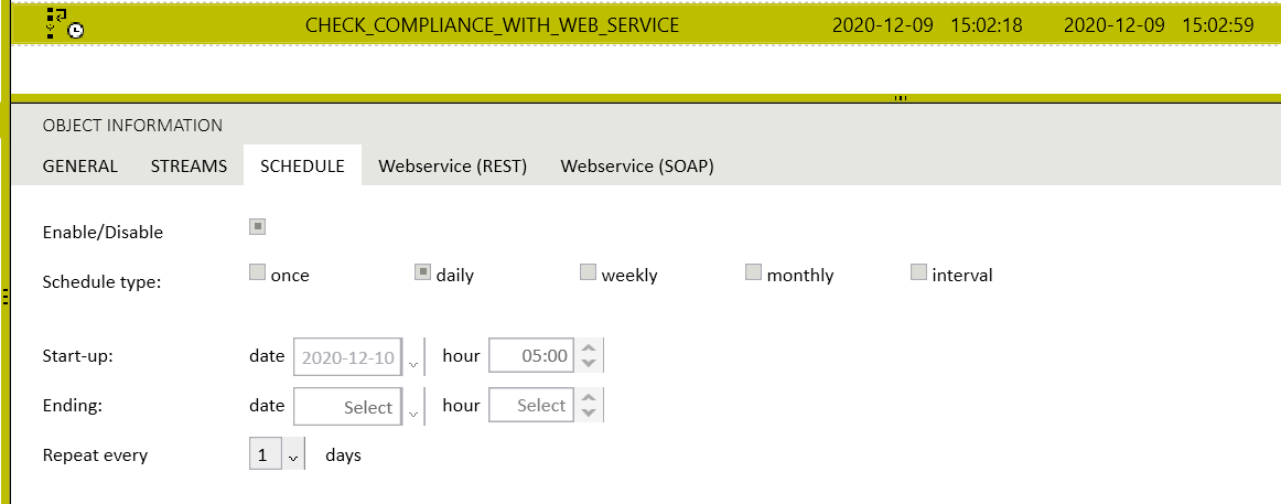 A task configured using a launch schedule