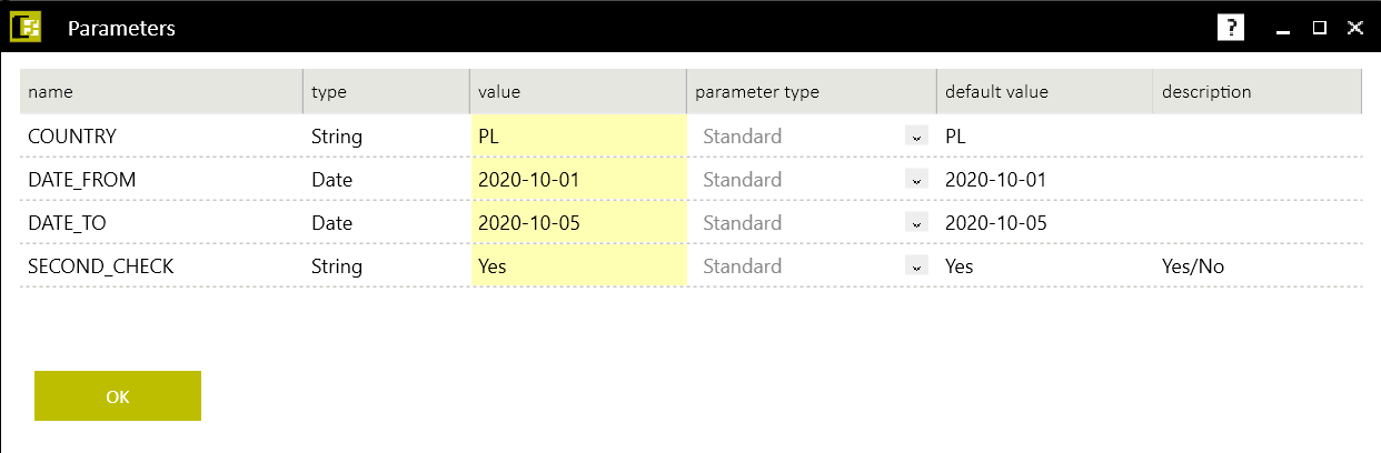 Fig. 3. Stream launch parameter configuration window