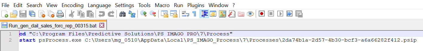 Fig. 7. The content of the batch file launching the PS IMAGO PRO task