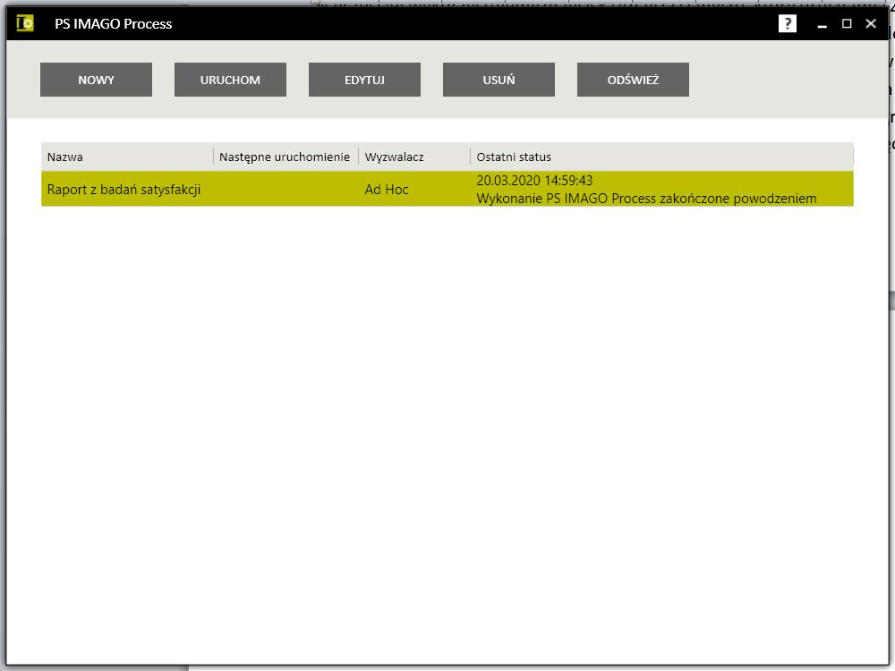 Rysunek 2. Lista zadań w PS IMAGO Process