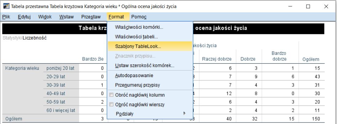 Rysunek 3. Modyfikacja wyglądu tabeli - menu Format
