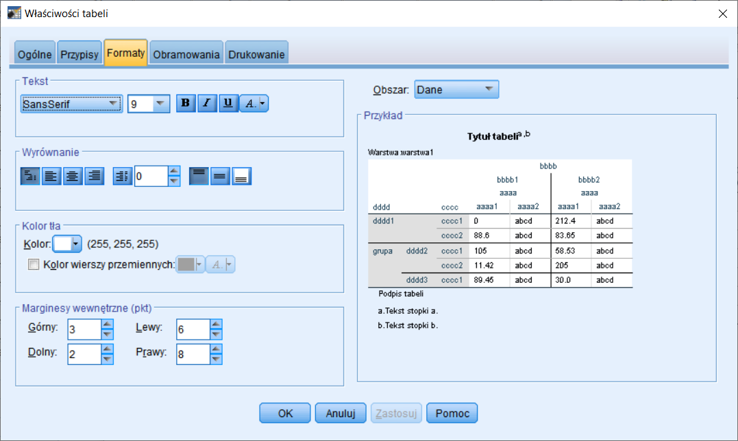 Rysunek 5. Kreator edycji szablonu tabeli – formatowanie zawartości tabeli