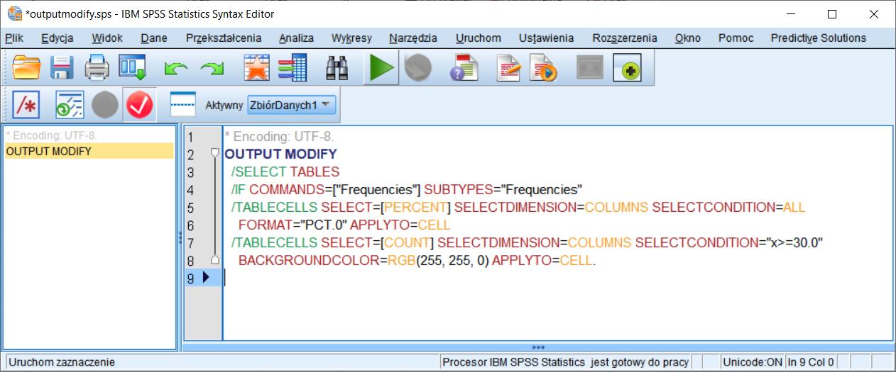Rysunek 8. Zmodyfikowany syntax poleceń formatujących tabele według opisanych reguł