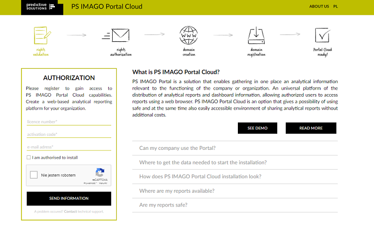 Figure 8. Cloud version of the web portal for distribution of reports