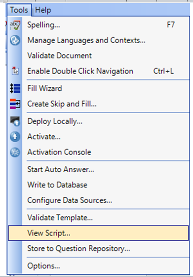 personalizacja kwestionariusza menu tools
