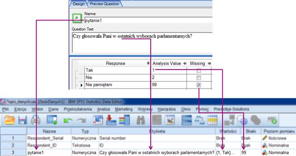 Rysunek 3. Podczas budowy kwestionariusza, tworzona jest struktura danych wraz z opisem.